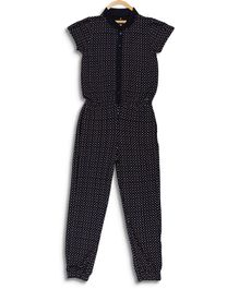 Elle Kids Short Sleeves Polka Dot Printed Jumpsuit - Navy Blue