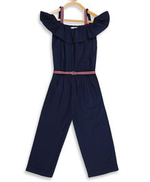 Elle Kids Half Sleeves Solid Cold Shoulder Jumpsuit - Navy Blue