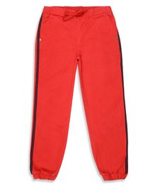 Elle Kids Full Length Side Striped Track Pants - Red