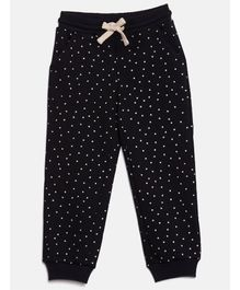 Elle Kids Polka Dot Print Track Pants - Black