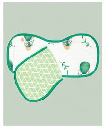 Theoni Organic Cotton Muslin 3 Layered Burp Cloths Bunny Print Pack of 2 - Green