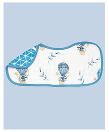 Theoni Organic Cotton Muslin 3 Layered Burp Cloth Bunny Print - Blue