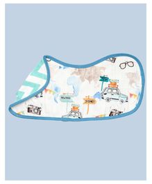 Theoni Organic Cotton Muslin 3 Layered Burp Cloth Vehicle Print - Blue