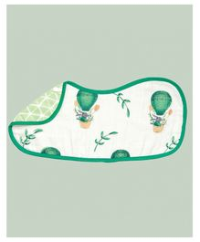 Theoni Organic Cotton Muslin 3 Layered Burp Cloth Bunny Print - Green