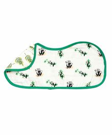 Theoni Organic Cotton Muslin 3 Layered Burp Cloth Panda Print - Green