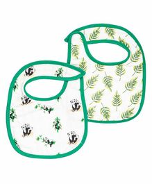 Theoni Organic Cotton Muslin 3 Layered Bibs Panda Print Pack of 2 - Green