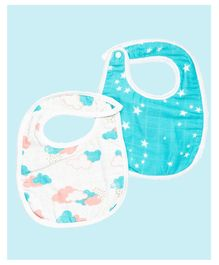 Theoni Organic Cotton Muslin 3 Layered Bibs Star Print Pack of 2 - Blue