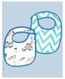 Theoni Organic Cotton Muslin 3 Layered Bibs Chevron Print Pack of 2 - Blue