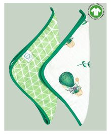 Theoni 100% Organic Cotton Muslin Wash Cloths Bunny Print Pack of 2 - Green