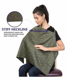 Grandma's Premium Nursing Feeding Cover with Adjustable Neckline Floral Print - Green