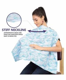 Grandma's Premium Printed Nursing Feeding Cover with Adjustable Neckline - Sky Blue