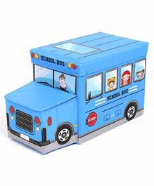 Muren Bus Shaped Foldable Storage Box cum Stool - Sky Blue