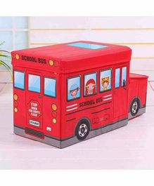 Muren Foldable Storage Box cum Stool Fire Fighter Bus Design - Red