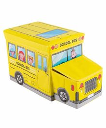 Muren Foldable Storage Box cum Stool School Bus Design - Yellow