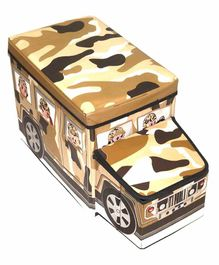 Muren Foldable Storage Box cum Stool  Army Bus Design - Brown