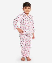 KID1 Vehicle Print Full Sleeves Night Suit - Red