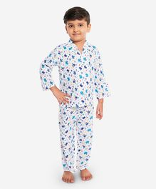 KID1 Vehicle Print Full Sleeves Night Suit - Blue