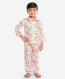 KID1 Animal Buddies Print Full Sleeves Night Suit - Red