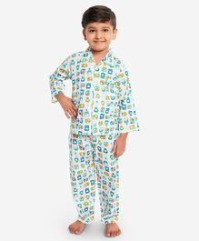 KID1 Animal Buddies Print Full Sleeves Night Suit - Green