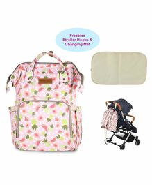 Polka Tots Waterproof Diaper Backpack Fruit Print with Changing Mat - Pink