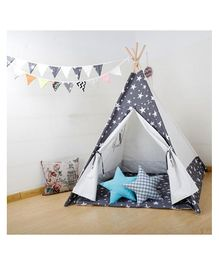 Polka Tots Kids Teepee Tent with Padded Mat - Grey White