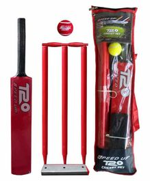 Speed Up T20 Wooden Cricket Combo Set Size 4 - Red