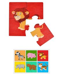 RK Cart Wooden 4-Piece Wild Animal Puzzles Set of 6 - Multicolour