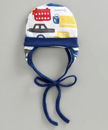 Ben Benny Cap With Ear Flap Vehicle Print - White Navy Blue