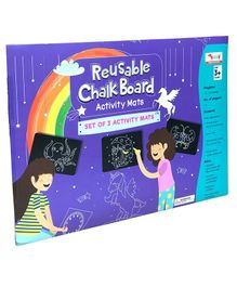 Cocomoco Chalkboard Wipe & Clean Activity Mats Set of 3 - Multicolor