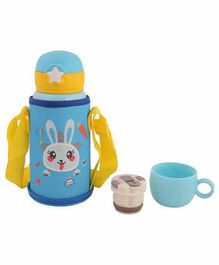 Yellow Bee Hot & Cold Stainless Steel Flask Cum Sipper Bottle Bunny Print Blue - 600 ml