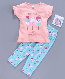 Smarty Half Sleeves Pyjama Sets - Peach