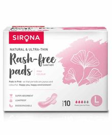 Sirona Biodegradable Super Soft Sanitary Pads Pink Large - Pack of 10