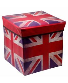 Fiddlerz UK Flag Theme Foldable Storage Box Cum Stool - Red Blue