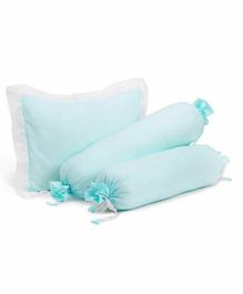 The White Cradle Cot Pillow & 2 Bolsters Set with Fillers - Blue