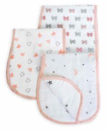 The White Cradle Baby Burp Cloth Butterfly & Heart Print Pack of 3 - White Pink