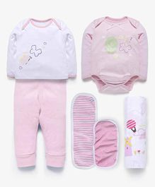 My Milestones Love Bundle Infant Clothing Gift Set Pack of 6 - White Pink
