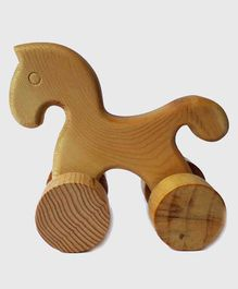 Carving Wood Push & Go Horse Toy - Brown
