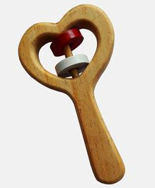 Carving Wood Heart Shaped Rattle Toy - Brown
