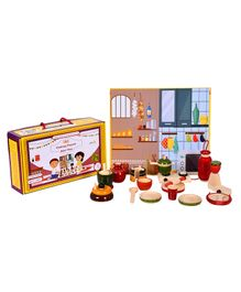 Desi Toys Wooden Kitchen Pretend Playset - 15 Pieces
