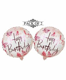 Amfin Happy Birthday Foil Balloons Pink - Pack of 2