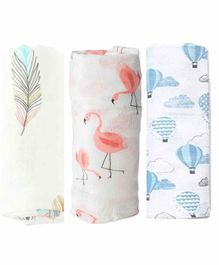 Elementary Organic Cotton Muslin Swaddle Wraps Flamingo Feather & Hot Air Balloon Print Set of 3  - Pink & Blue