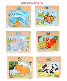 Akrobo Wooden Animal Themed Jigsaw Board Puzzles Set of 6 (Assorted Prints) - 12 Pieces Each