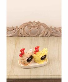 Quirky Monkey Salt Pepper Set with Tray Hen Design - Yellow