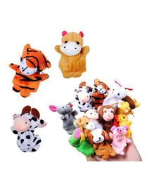 Kuhu Creations Animal Finger Puppets Pack Of 12 - Multicolor