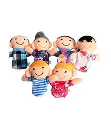 Kuhu Creations Family Finger Puppets Pack Of 6 - Multi color