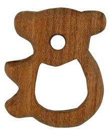 Wufiy Wooden Bear Shape Neem Teether Glazed With Virgin Coconut Oil & Cotton Bag - Brown
