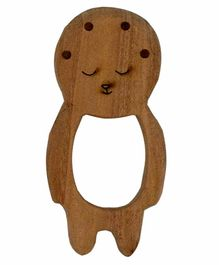 Wufiy Wooden Baby Shape Neem Teether Glazed With Virgin Coconut Oil & Cotton Bag - Brown