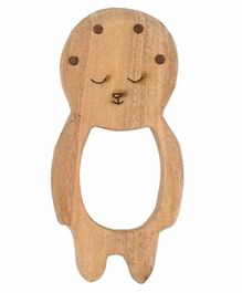 Wufiy Wooden Baby Shape Neem Teether Glazed With Virgin Coconut Oil & Cotton Bag - Light Brown