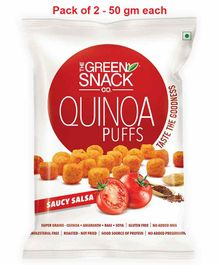 The Green Snack Co. Quinoa Puffs Saucy Salsa Pack of 2 - 50 gm Each