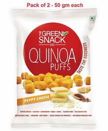 The Green Snack Co. Quinoa Puffs Peppy Cheese Pack of 2 - 50 gm Each